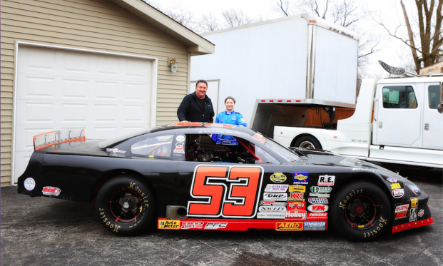 Mike Lorz and Zachary Tinkle with the #53 late model car of Lorz Motorsports