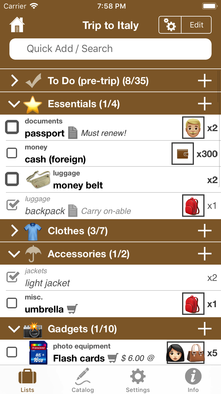 Packing Pro on iPhone (packing list)
