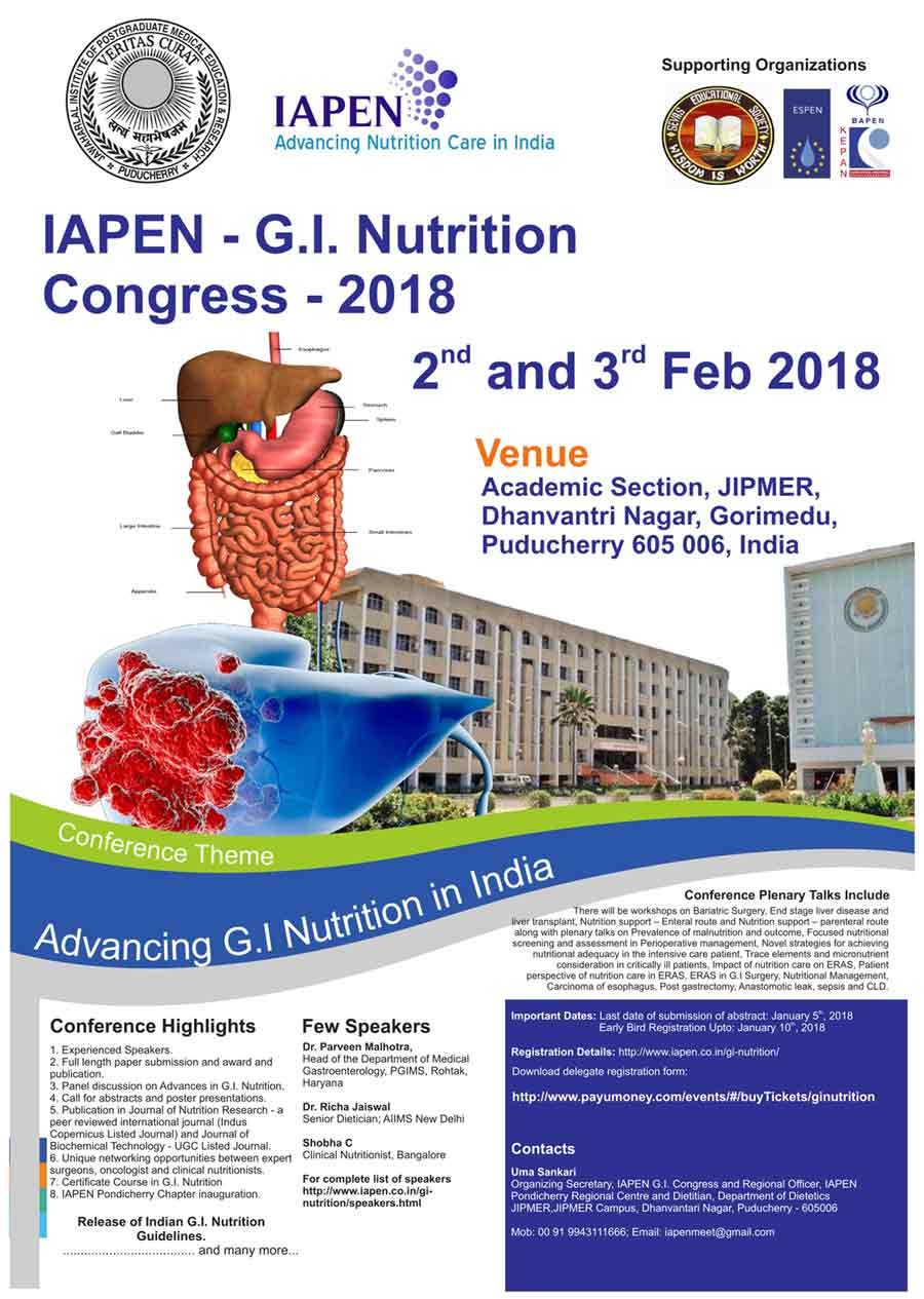 IAPEN G I  Nutrition Congress-2018 to be hosted in JIPMER