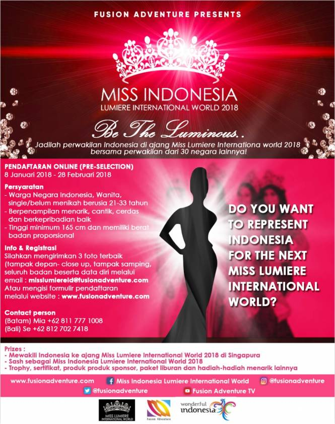 Miss Indonesia Lumiere International 2018 Are Open For