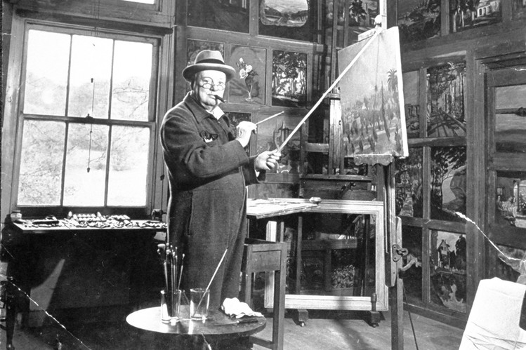 Prime Minister Winston Churchill painting in his studio LIFE Picture Collection