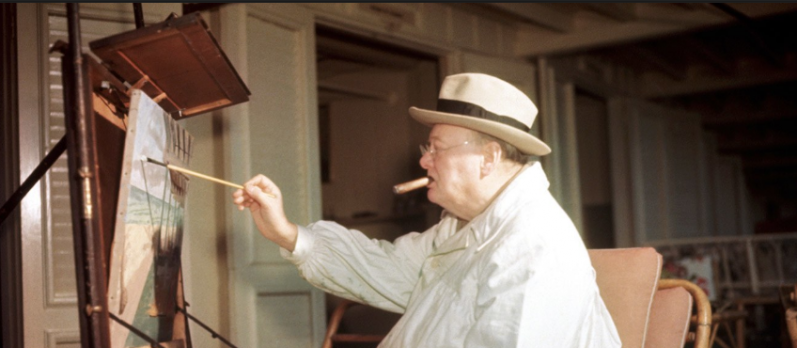 Sir Winston Churchill as a painter after he retired from government
