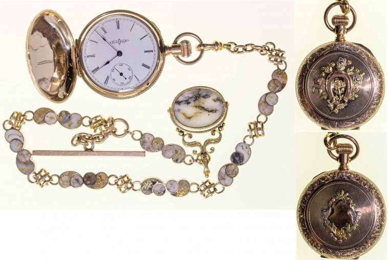 Choice pocket watch with gold-in-quartz chain made in 1899 by Illinois Watch Co.