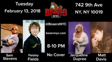 Boxers NYC Pre-Valentines Day Extravaganza Concert February 13th, 2018