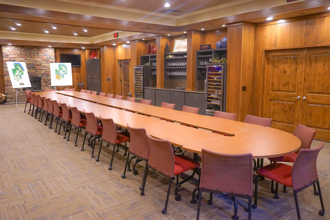 A large conference and tasting room has storage for 250 wine bottles
