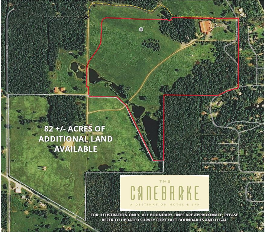 The property for sale includes 90 +/- acres with 82 +/- adjacent acres available