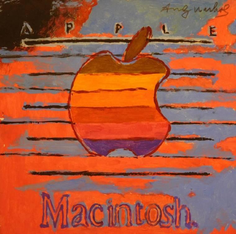 Playful interpretation of the Apple Macintosh logo attributed to Andy Warhol.