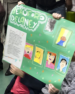 Jean Zay students proudly show their Beauford Delaney poster