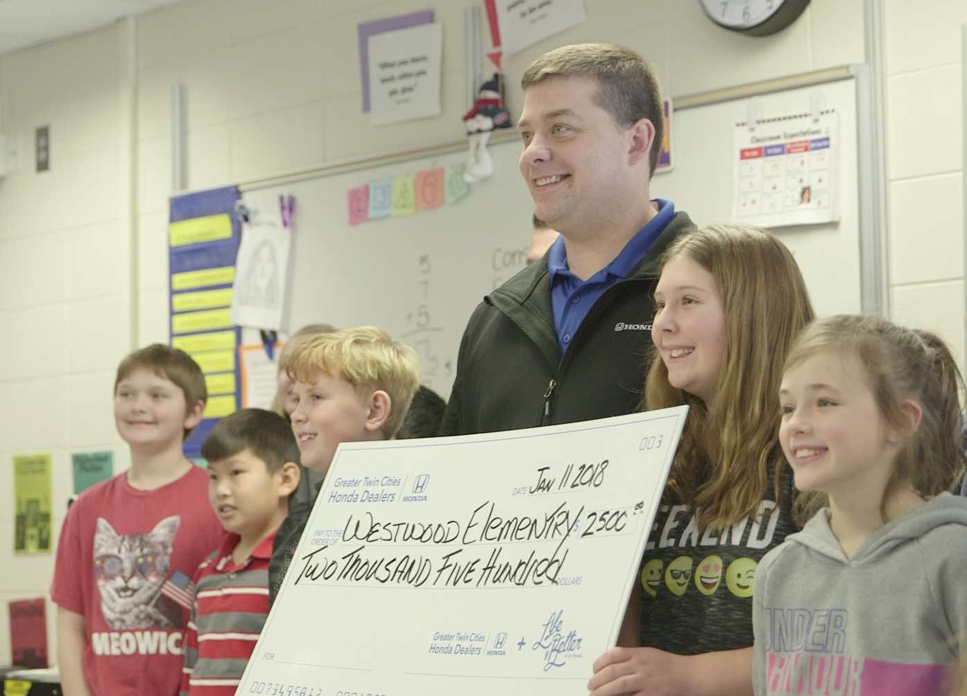 Greater Twin Cities Honda Dealers Donate $2,500 To Westwood Elementary