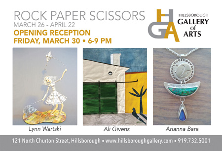 Rock-Paper-Scissors March 26 to April 22 at the Hillsborough Gallery of Arts