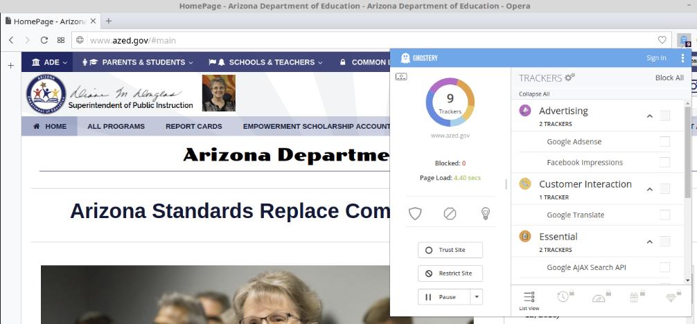 AZ Dept of Education website: No HTTPS, multiple ad trackers (retrieved 1/27/18)