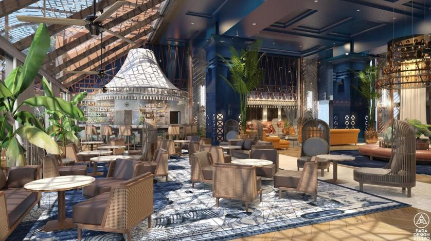 Rendering of the new lobby area and Black Rose Bar