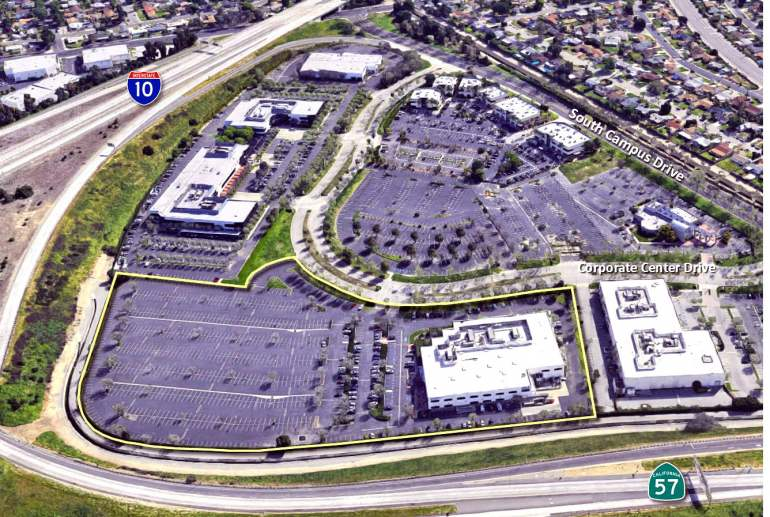 Aerial of Foremost Companies Commercial Property in Pomona, CA