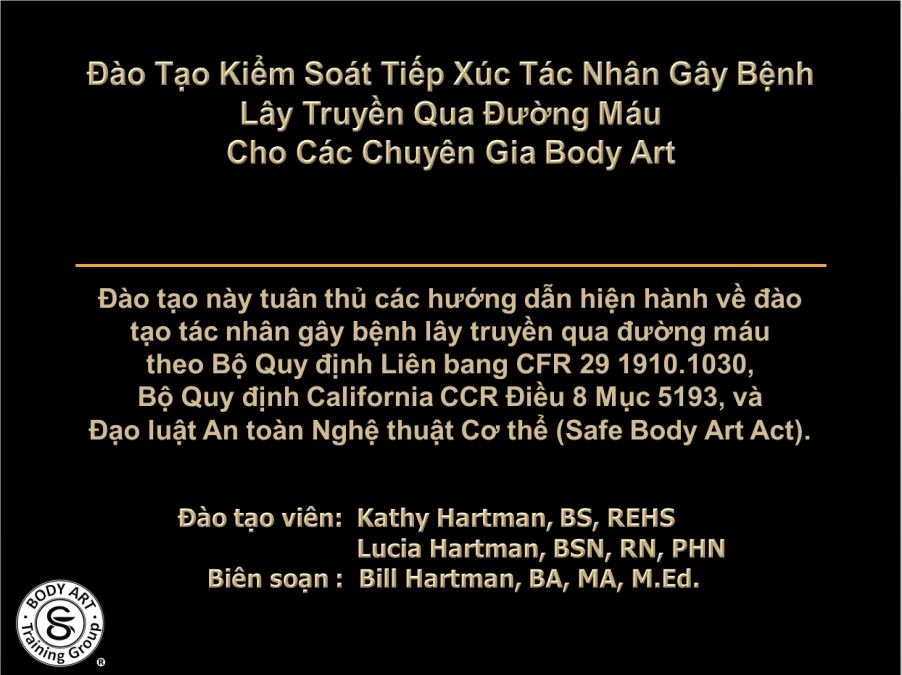 Vietnamese Body Art Bloodborne Pathogens Classes Updated Body Art Training Group Prlog