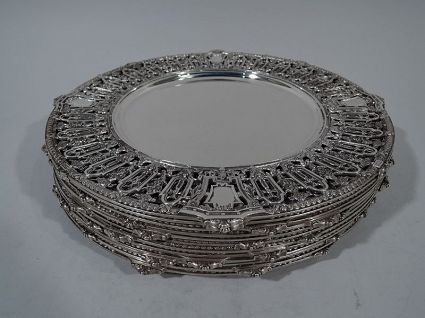 dominick & haff sterling silver dinner chargers