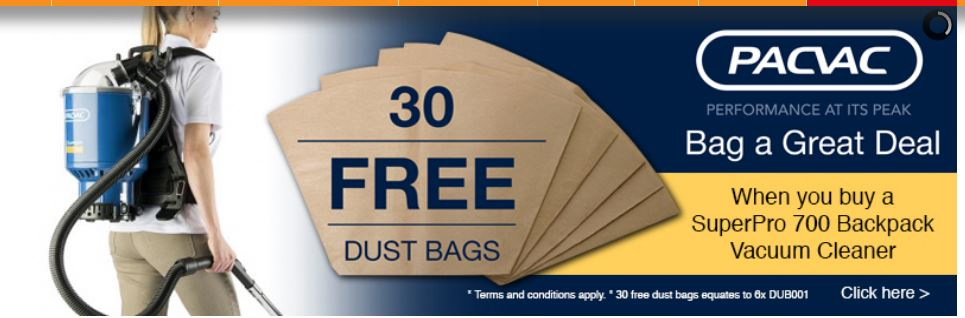Buy a Pacvac SuperPro & receive 30 dust bags absolutely FREE