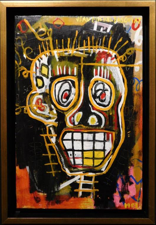 Untitled skeleton head painting attributed to Jean-Michel Basquiat ($37,500).