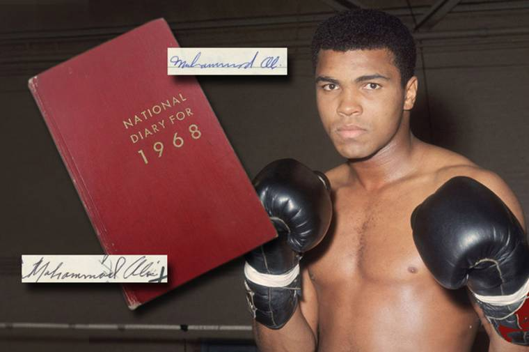 Muhammad Ali's personal diary from 1968, with over 1,800 handwritten words.