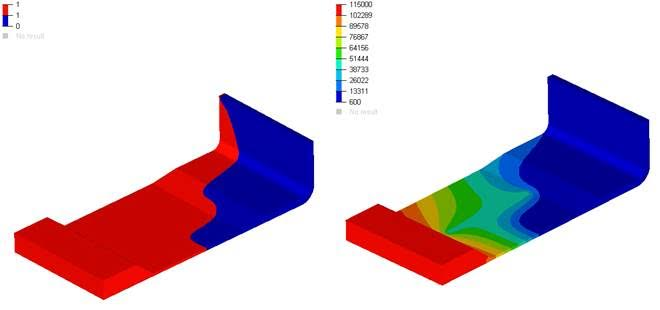 Finite element prediction of fill (left) and pressure (right) during infusion