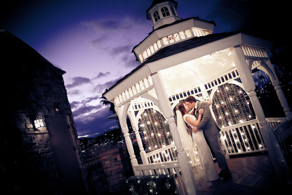 The Terrace Gazebo at Vegas Weddings at night