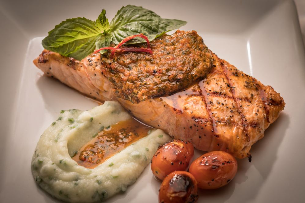 Atlantic Salmon served with cauliflower mousse