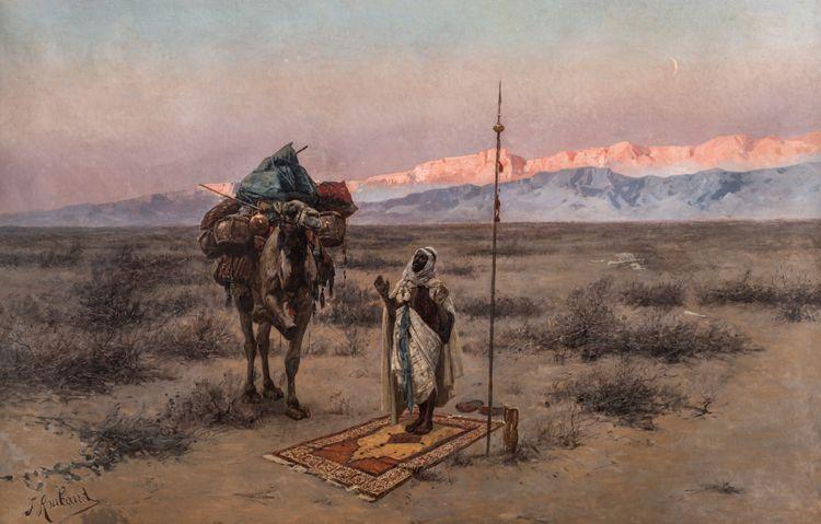 "Franz Roubaud (Russian 1856-1928), ""Meditation in the Desert,"" 1887"