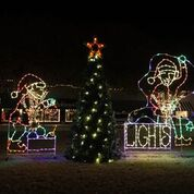 elves and tree lighted display.