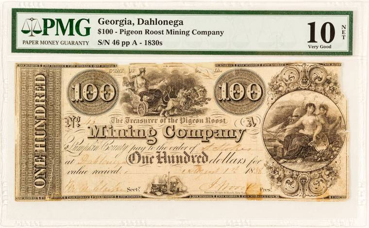Pigeon Roost Mining Company $100 scrip note from 1838 (est. $200-$400).