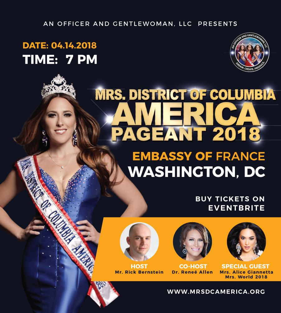 Mrs. DC America 2018 is April 14th at the Embassy of France