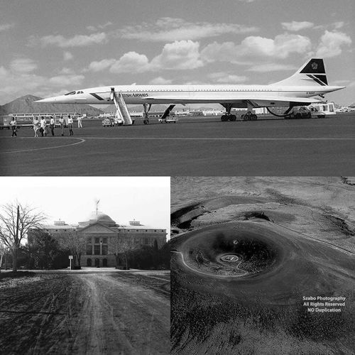 """Concorde"", ""Arizona State Capital"", ""Roden Crater"" by Marilyn Szabo"