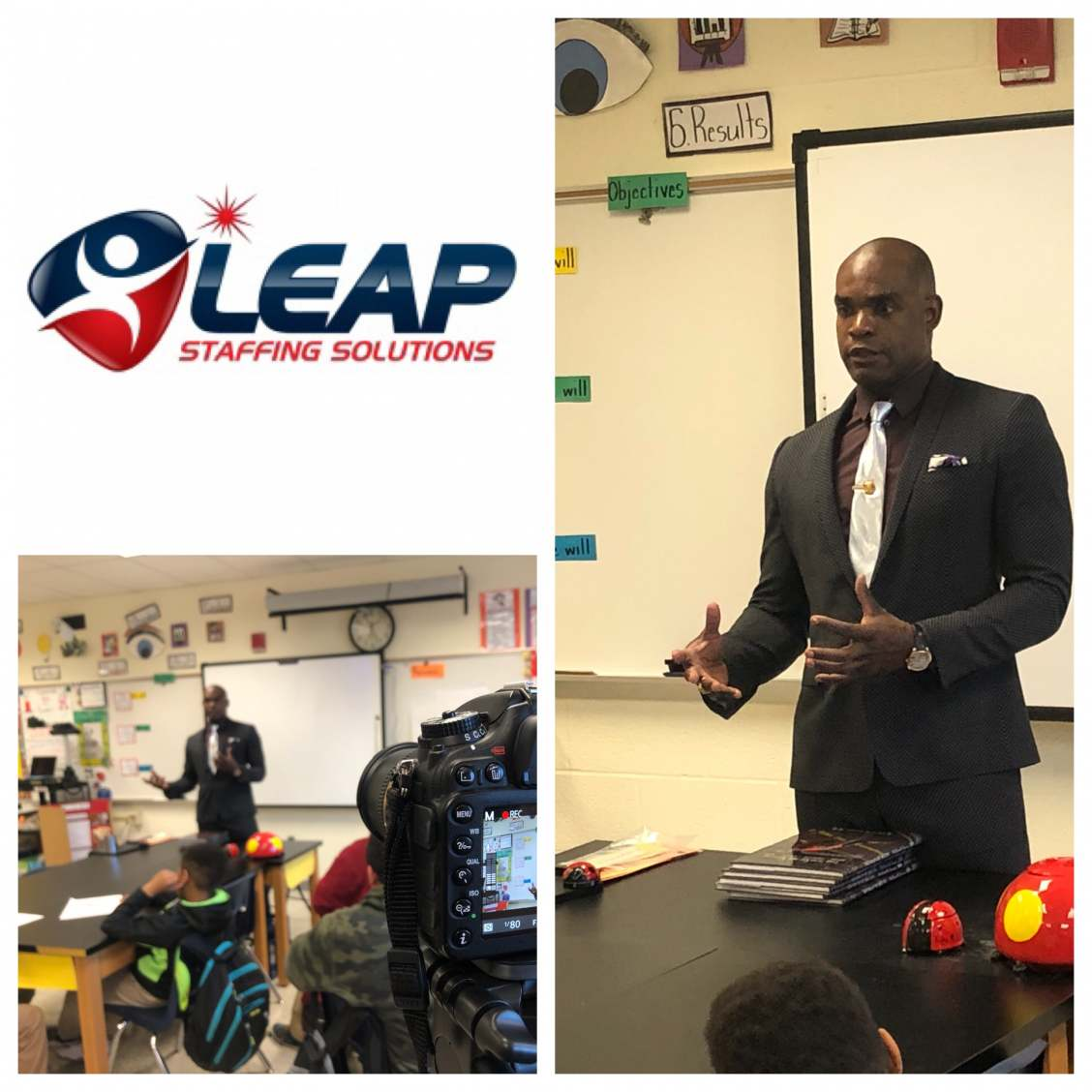 LEAP's CEO speaks with 5th grade students to mentor and instill confidence.