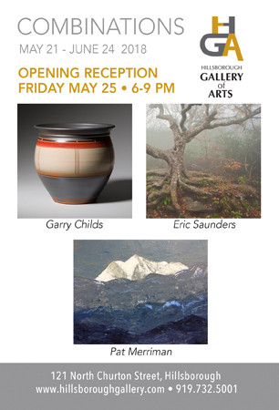 COMBINATIONS,  May 21 - June 24 at the Hillsborough Gallery of Arts