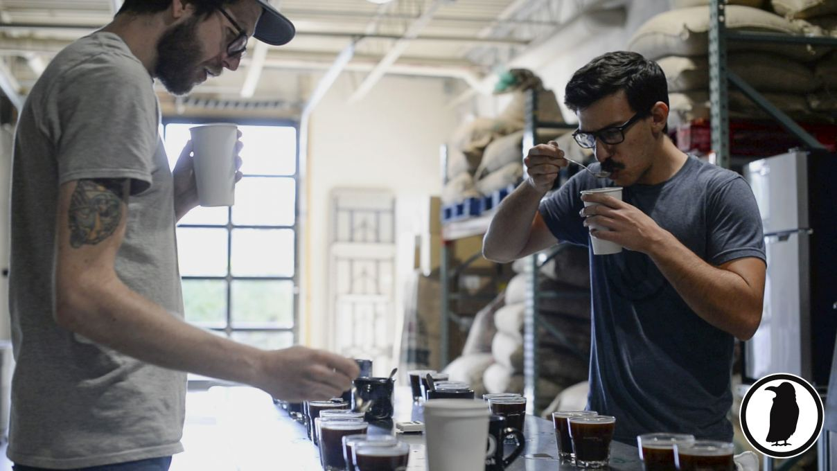 Mike (left) & Alex (right) cupping at Rook's Roastery in Long Branch