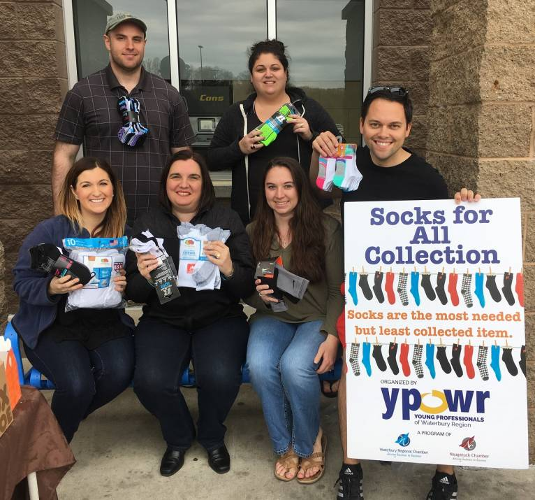 Members of YPOWR collected hundreds of socks during 2017 drive