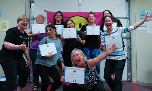 Newly certified Laughter Yoga Leaders!
