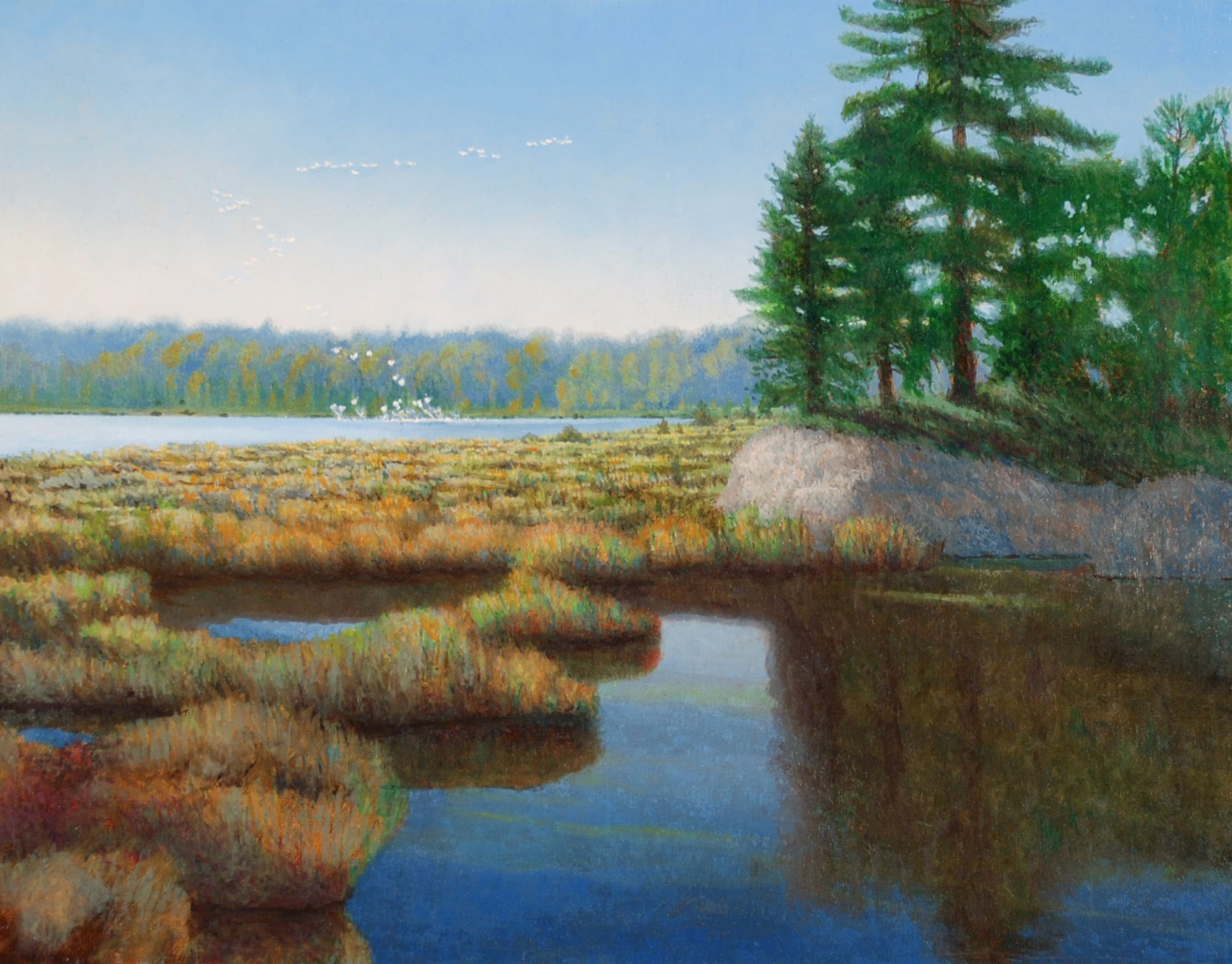 """Adirondack Geese Rise,"" painting by Tony Winters"
