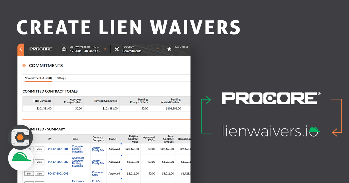 lienwaivers.io is your Procore lien waiver solution