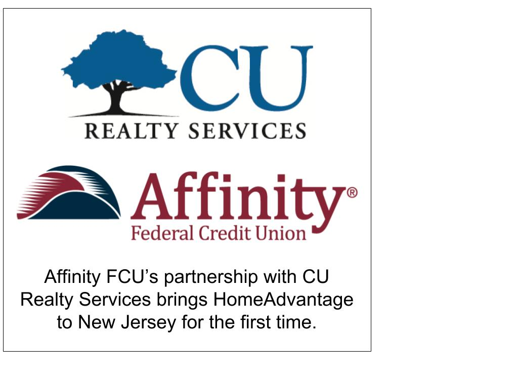 CU Realty Services partners with Affinity FCU to bring HomeAdvantage to NJ
