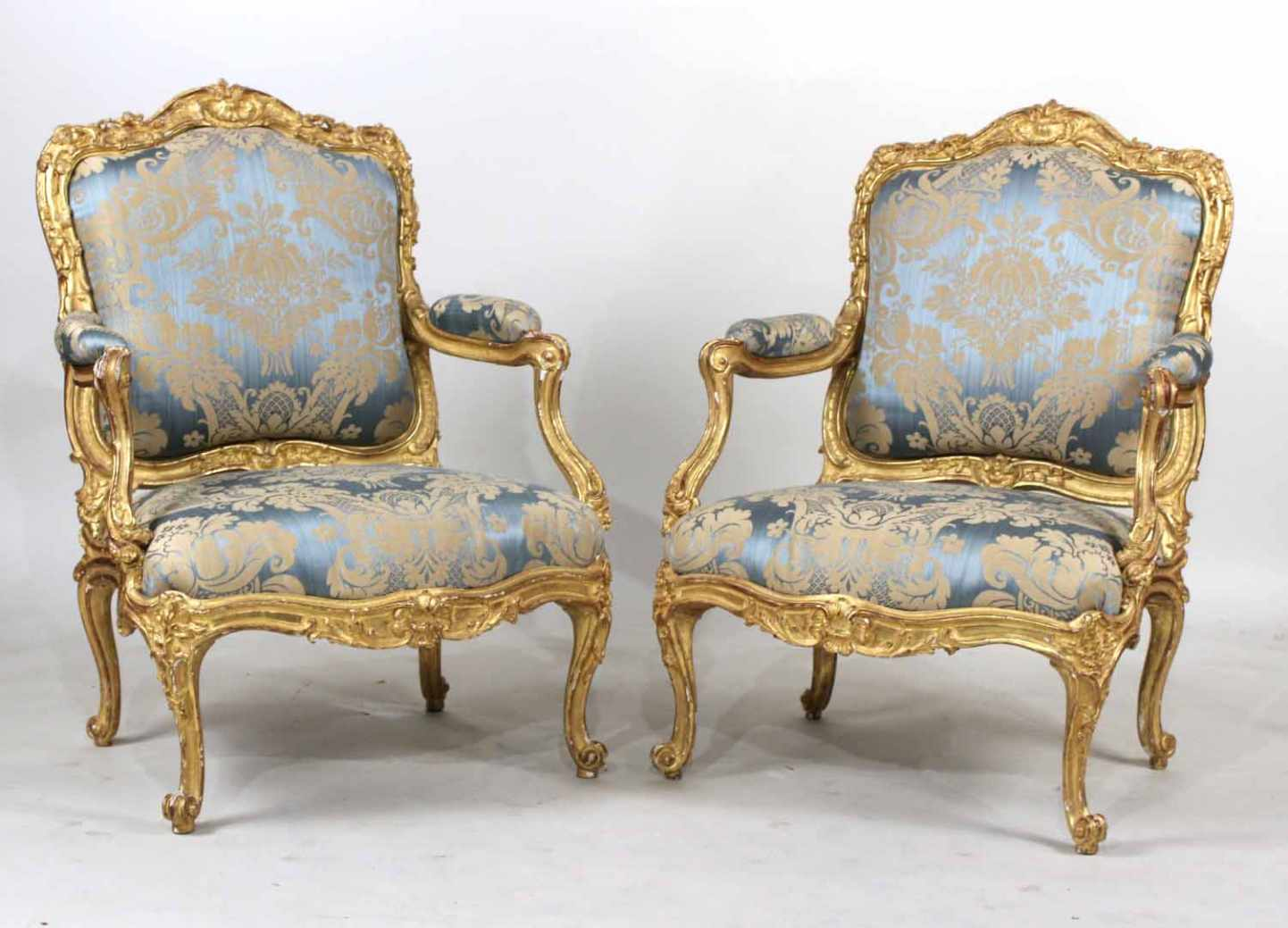 Pair of fauteuils a la reine French armchairs, circa 1755-1760, by Jean Gourdin.