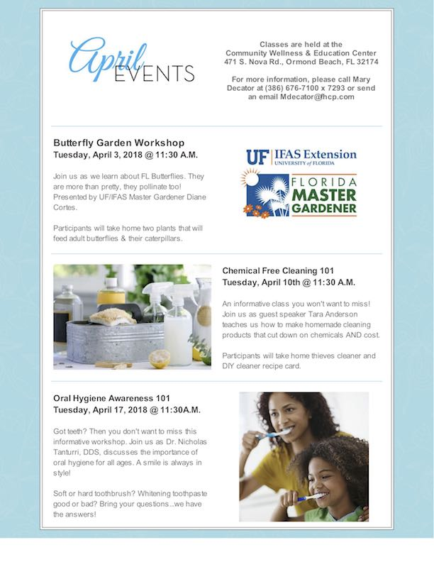 fhcp april events - Uf Butterfly Garden