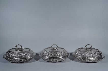 antique sterling silver set of 3 repousse covered