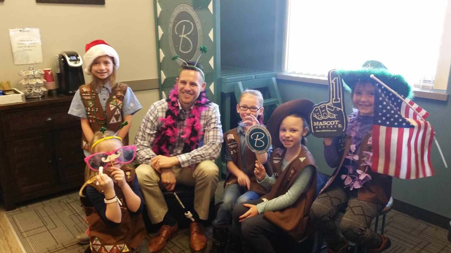 Dr. Bret Johnson and Local Girl Scouts
