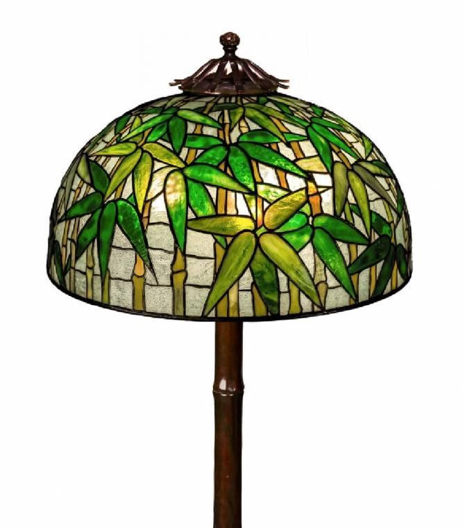 Rare Tiffany Studios Bamboo leaded glass and bronze floor lamp ($241,900).