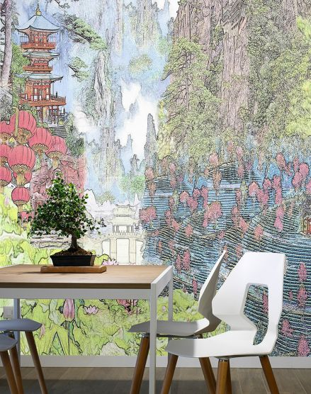 Modern Casart Coverings Colorized China Mural Interior Vignette