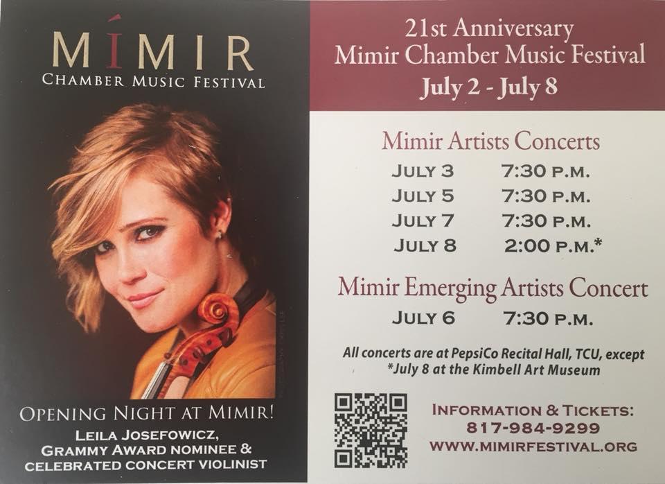2018 Mimir Chamber Music Festival