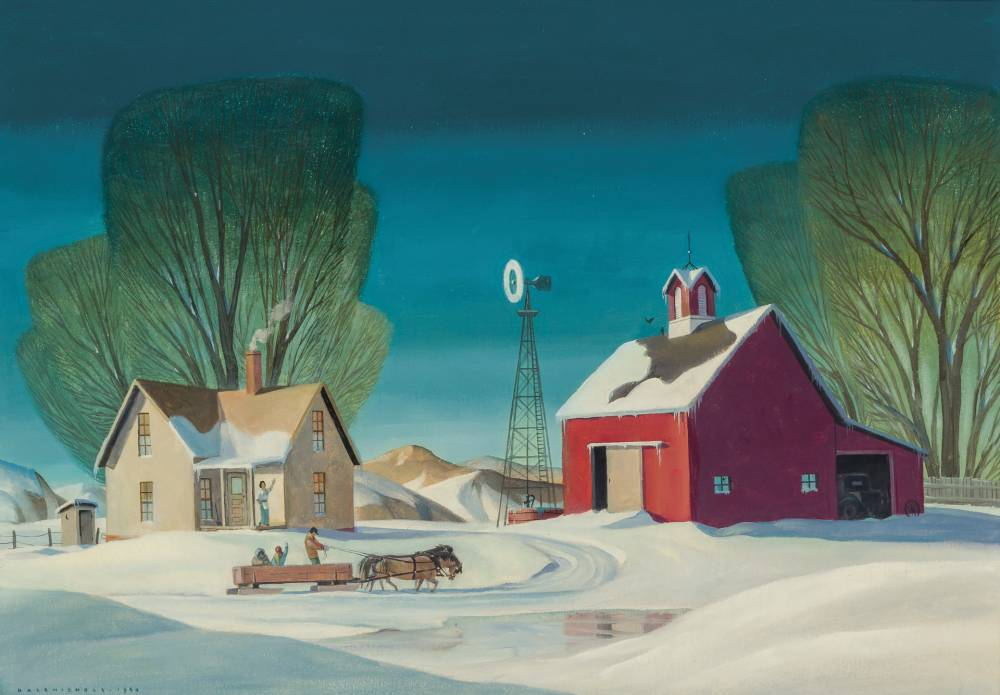 Oil on canvas painting by Dale Nichols (1904-1995), titled Winter on the Farm.