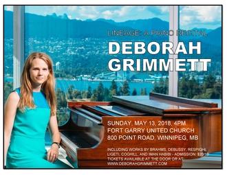 Deborah Grimmett - Pianist - Canada and UK Recital
