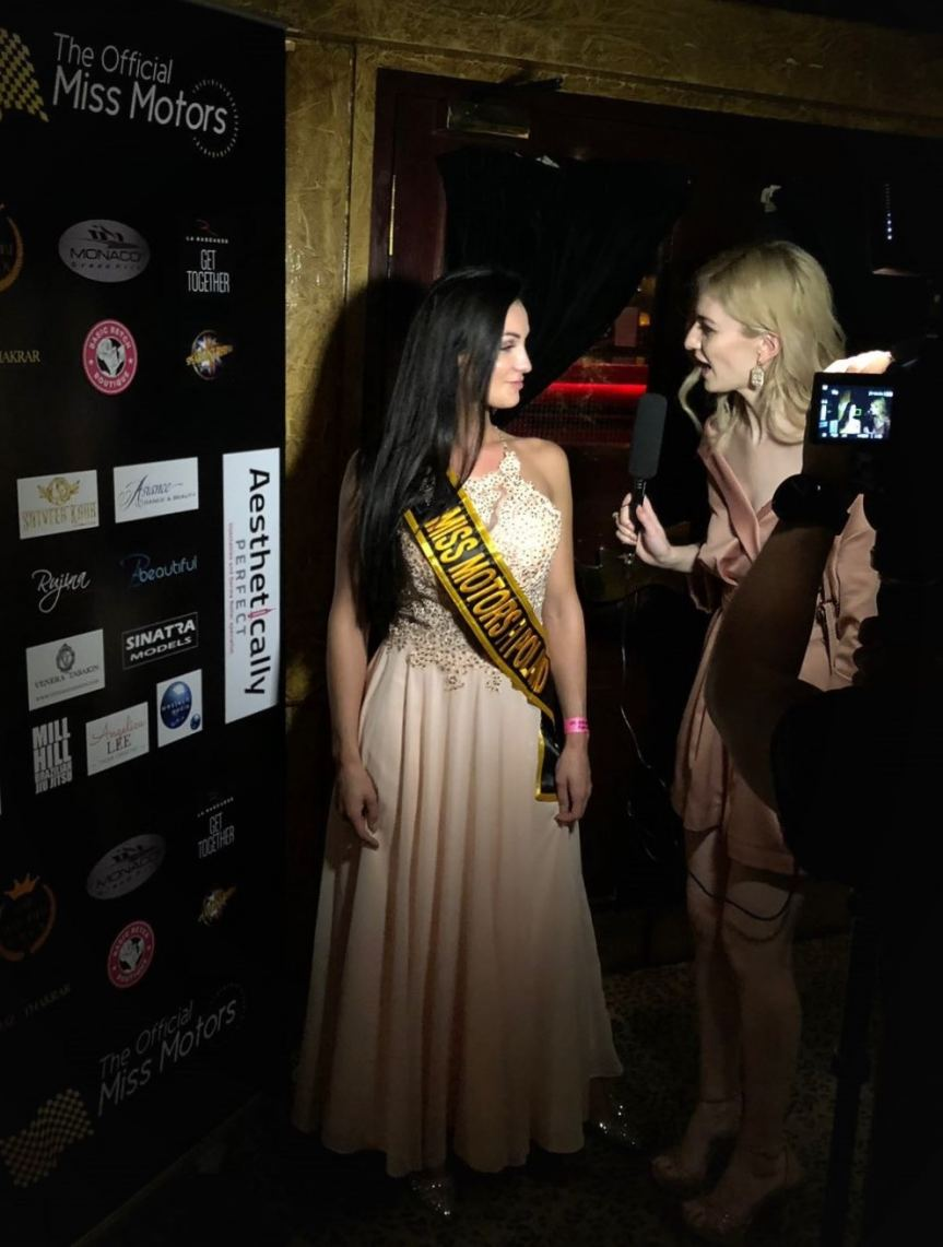 Patrycja Rebech being interviewed after crowned Miss Motors Poland