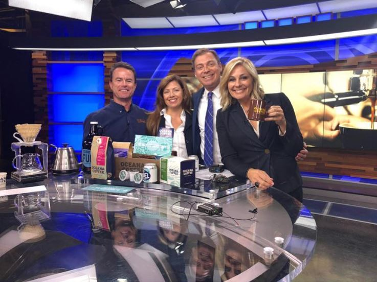 Oceana Coffee's Scott and Amy Angelo on set on WPEC CBS 12 morning TV.