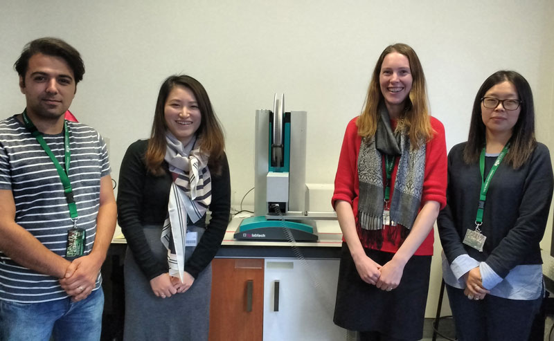 Some of the Ferrier Research Institute team and the TTP Labtech mosquito.